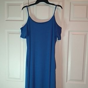 Blue Maxi cold shoulder dress pockets